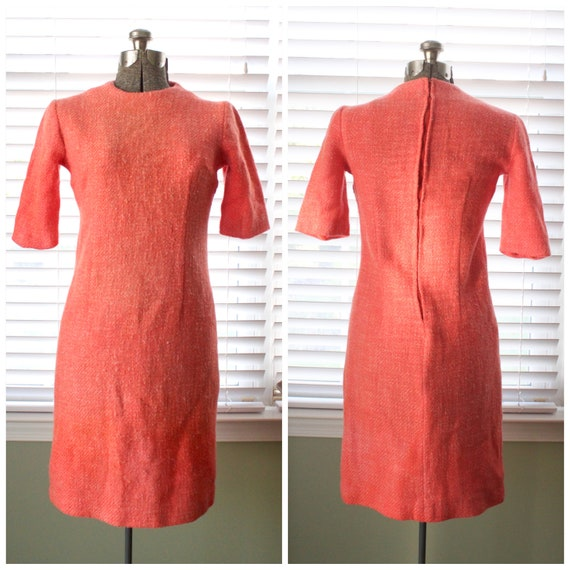 1960s Coral Wool Pencil Dress
