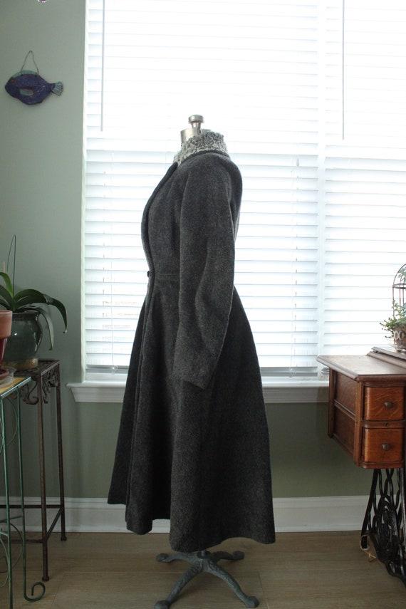 1950s Graphite Gray Princess Coat with Persian La… - image 8