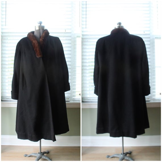 1940s Black Wool Swing Coat with Red Mink Trim