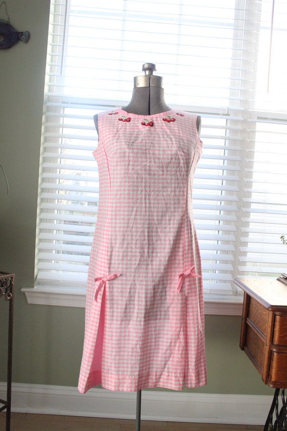 1960s Pink Gingham And Cherry Dress - image 2