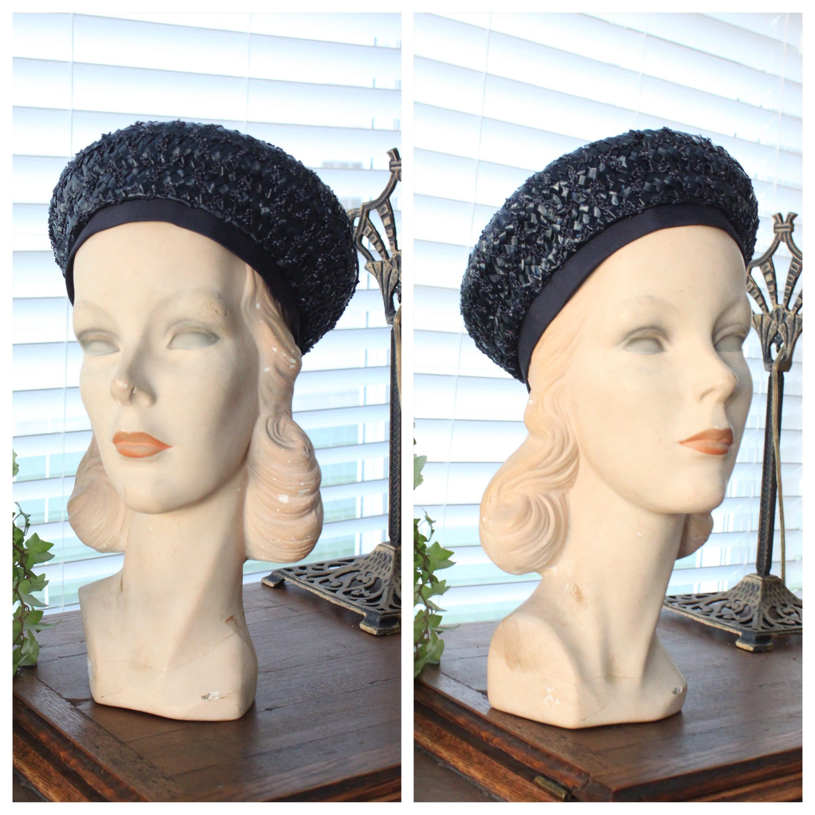 5a9f4775a0a 1960s Straw Navy Beret Sailor Hat