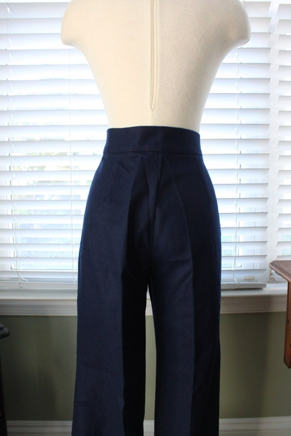 1970s Navy Wool Bell Bottoms - image 5