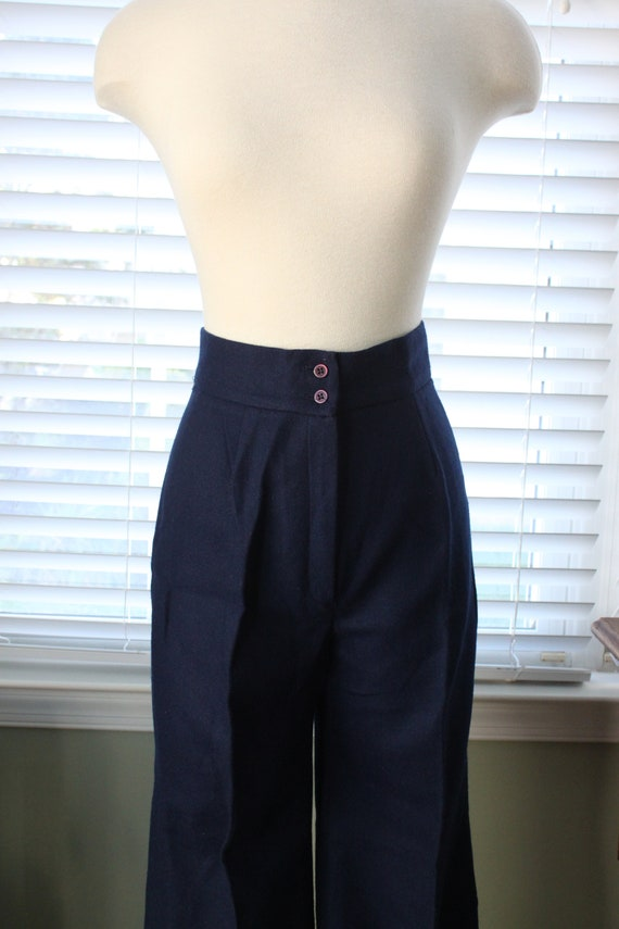 1970s Navy Wool Bell Bottoms - image 2