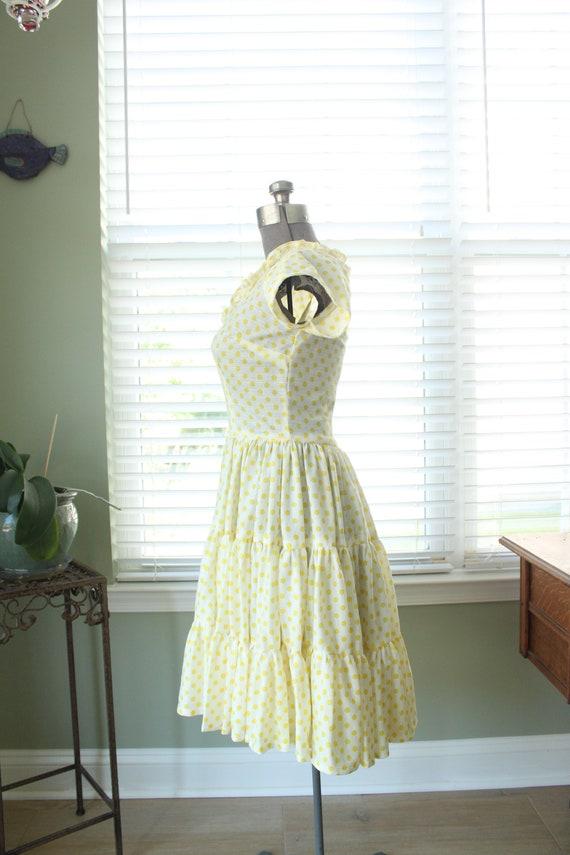 1960s-1970s Yellow Polka Dot Country Dress - image 5