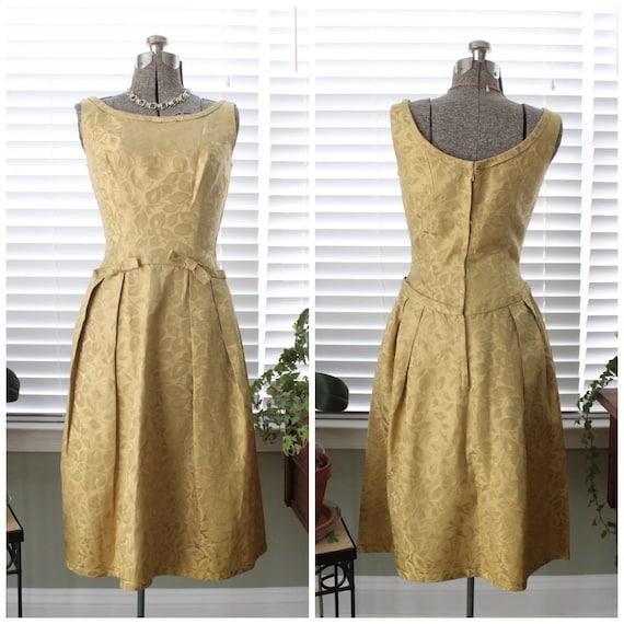 1950s Gold Brocade Cocktail Dress