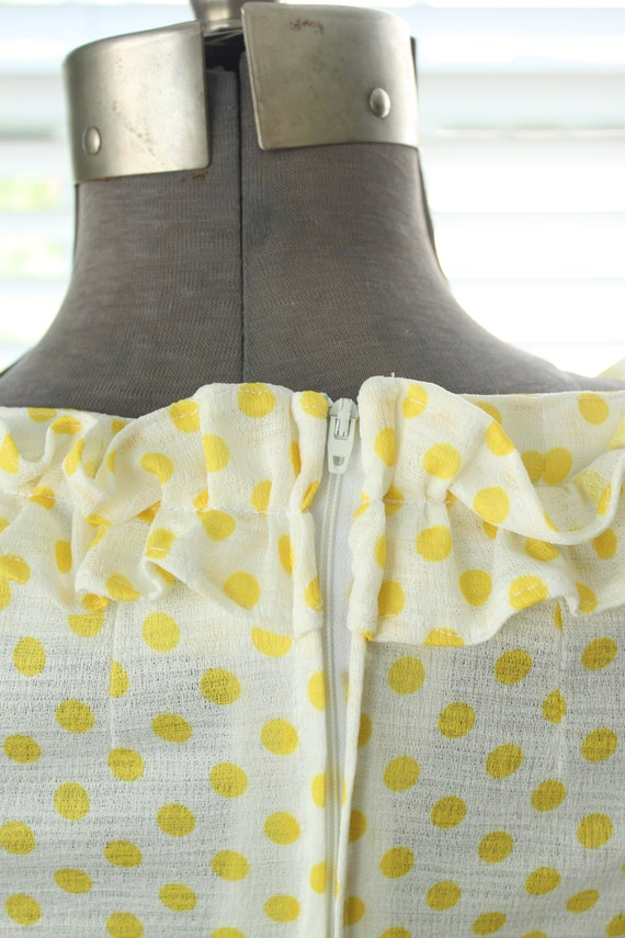 1960s-1970s Yellow Polka Dot Country Dress - image 6