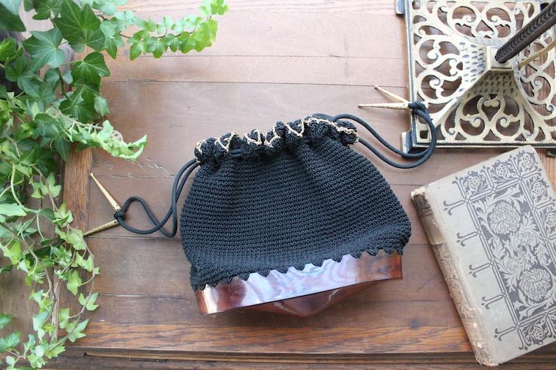1940s Crochet Drawstring Purse with Tortoiseshell Base