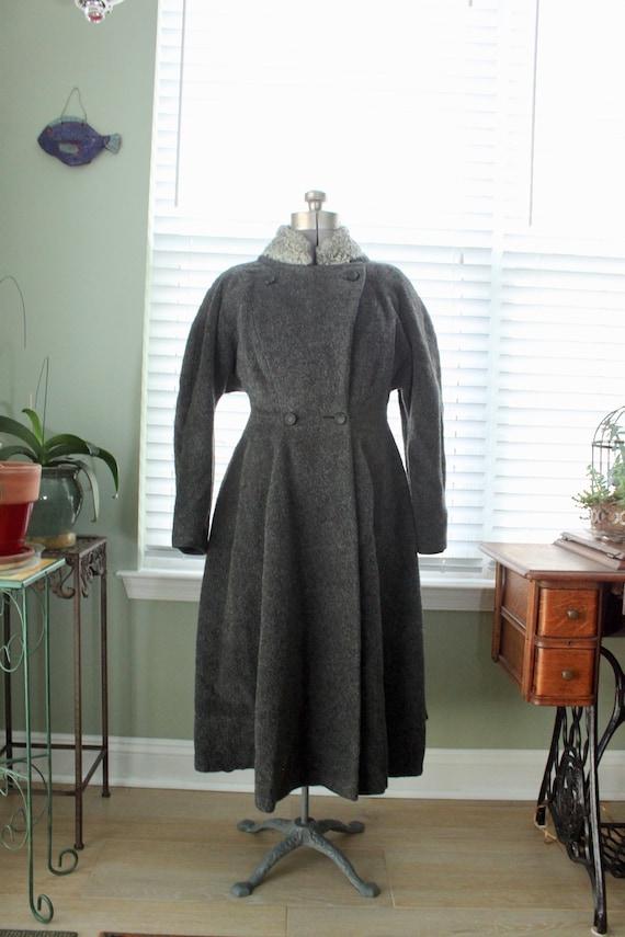 1950s Graphite Gray Princess Coat with Persian La… - image 2