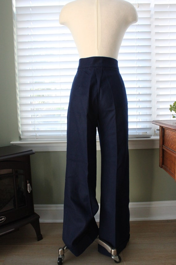 1970s Navy Wool Bell Bottoms - image 6