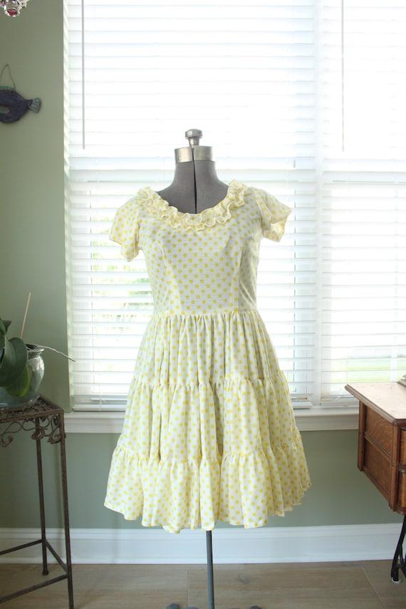 1960s-1970s Yellow Polka Dot Country Dress - image 2