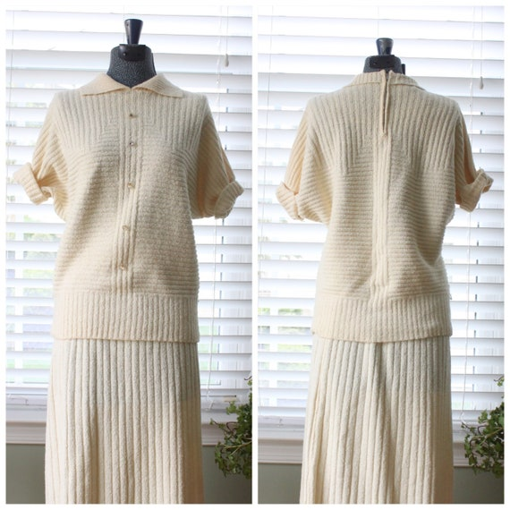 1940s Cream Orlon Knit Set (2 Piece)