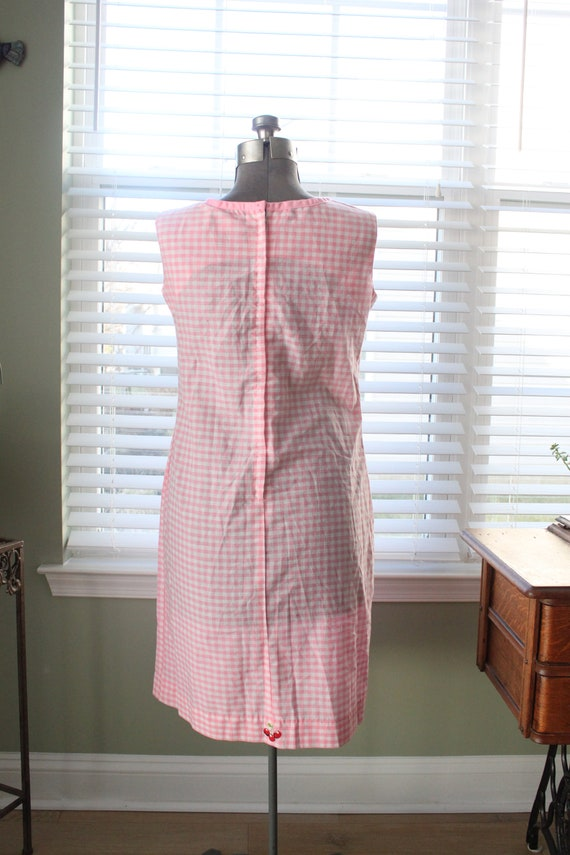 1960s Pink Gingham And Cherry Dress - image 3