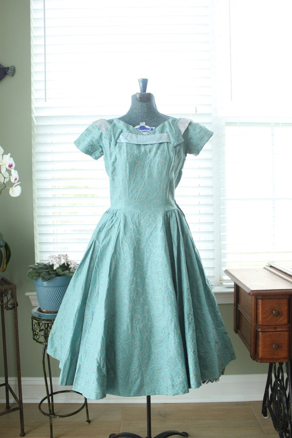 1950s Aqua Brocade Minx Modes Party Dress with Rib