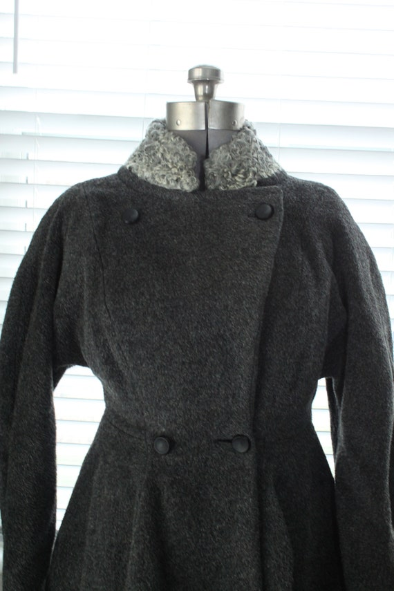 1950s Graphite Gray Princess Coat with Persian La… - image 10