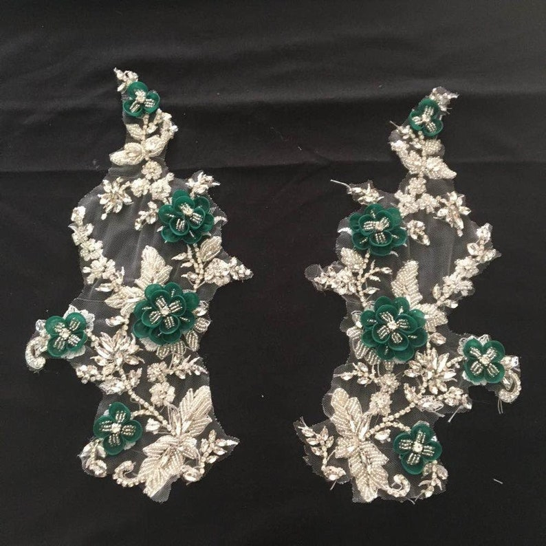 rhinestone sash headband shoulder bodice back appliques for bridal dress accessories New Deluxe 3D green flowers rhinestone lace appliques