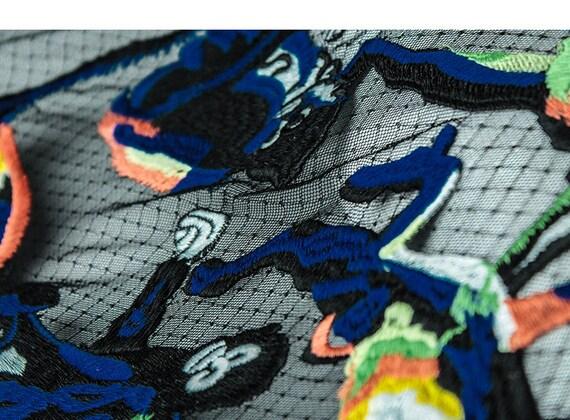 tissu lourd dentelle brodée broderie bleu avec broderie brodée singe pour les accessoires de couture robe robe de mariée costume Stretch dd38e0