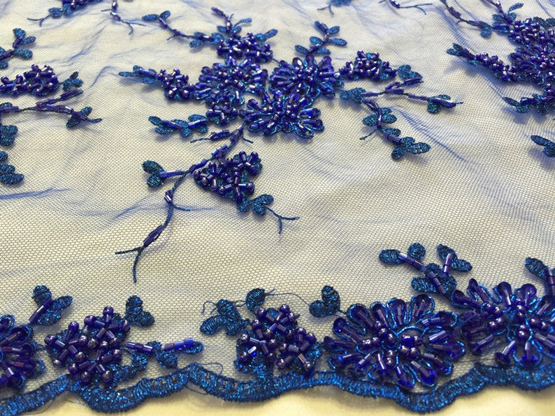 heavy beaded embroidered royal blue lace fabric Embroidered sequins French lace fabric for bridal dress costume garment sewing accessories