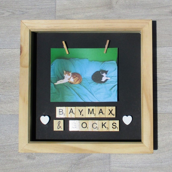 YOUR DOG or CAT NAME ADDED WITH SCRABBLE TILES PERSONALISED PET PHOTO FRAME