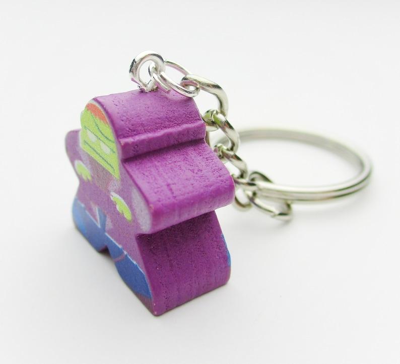 Birthday Present Purple  Tabletop Gaming Geeky Gift Board Game Keychain Gift Frankenstein Meeple Keyring Quirky Charm Geek