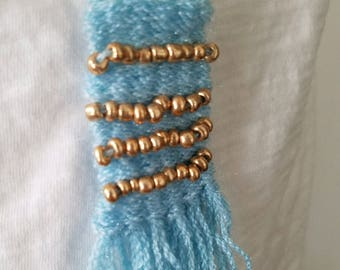 Blue Gold Bead Woven Necklace