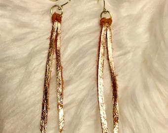 Genuine Mauve and Gold colored Leather Tassel Earrings with Gold Tone Hardware