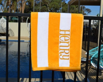 Striped Personalised Embroidered Beach Towels