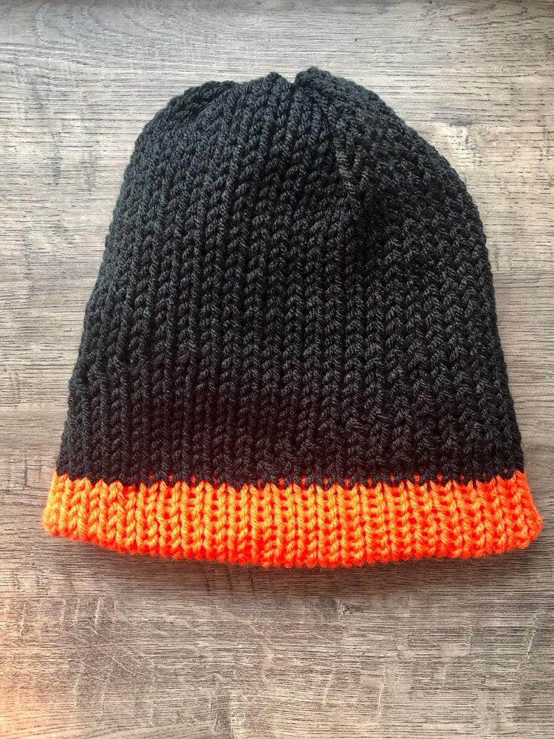BlackWhiteOrange ChildTeen Reversible Knit Beanie