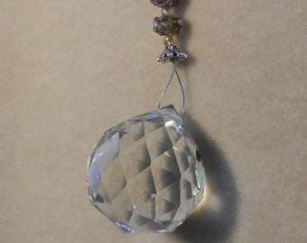 30 mm lead crystal sun catcher with lampwork beads