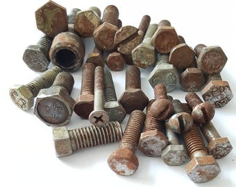 31 pcs of rusty soviet metal bolts, vintage