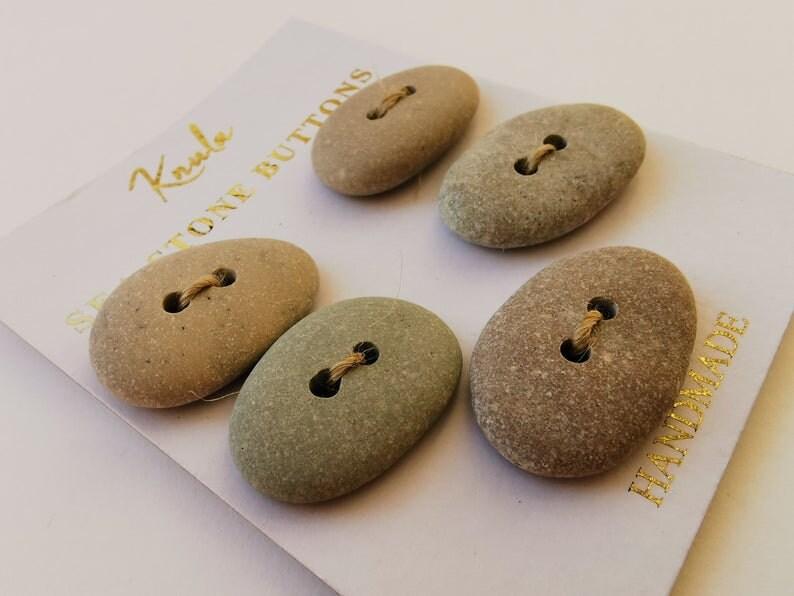 1.7 cm x 2.7 cm Eco Sea Stone Button Handmade