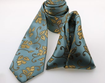 Jazz Flûte- Neck Tie and Handkerchief combo, Bold Tie. Gift for Graduation Necktie and Pocket Square.