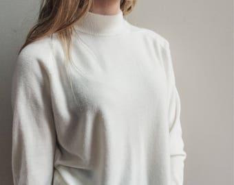 Vintage 100% Cotton Mock Turtleneck Sweater