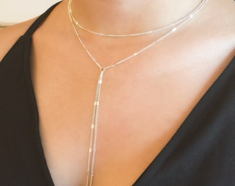 Silver Layered Necklace, Silver Lariat Necklace