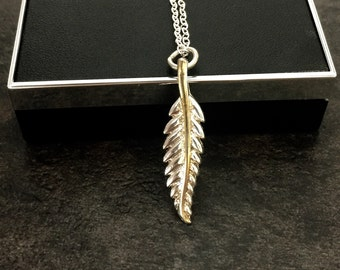 Sterling Silver Feather Necklace, Delicate, Simple