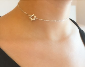 Star Of David Choker,Sterling Silver Star Choker