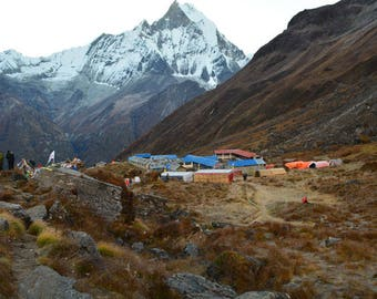 Morning and Evening View of Annapurna Base Camp, Mountain Photography, Large Poster Art, Instant Download!