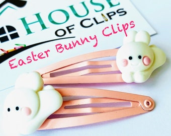 Handmade resin pearl with carrot /& Bunny rabbit gold hair clips set Easter Spring collection glitter girls women accessories