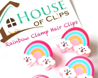 Rainbow Barrettes Toddler Hair Clips Non Slip Hair Clip Rainbow Clamp Hair Clips x1 Rainbow Hair Clips Rainbow Hair Clamps