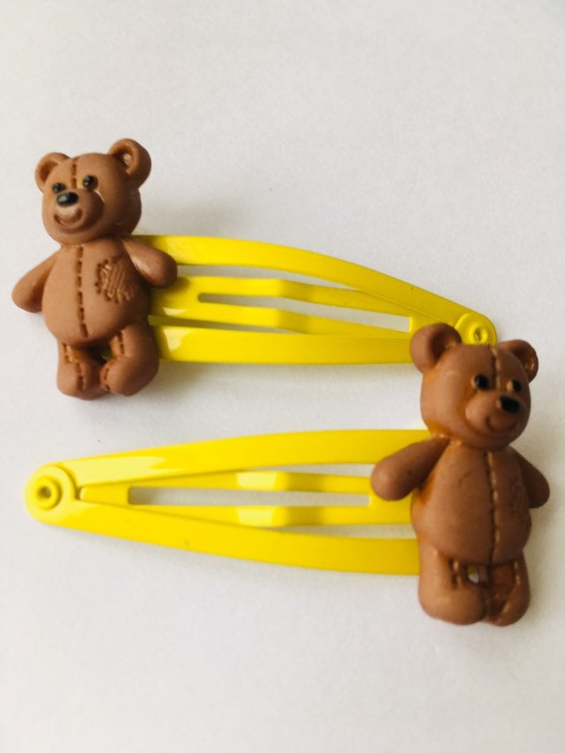 Kids' Clothing, Shoes & Accs Hair Accessories 2 Yellow Bear Hair Clips