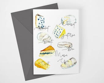 Paris Letter Fromage (Cheese) Printable Note Card, Digital Download by Janice MacLeod, author of Paris Letters