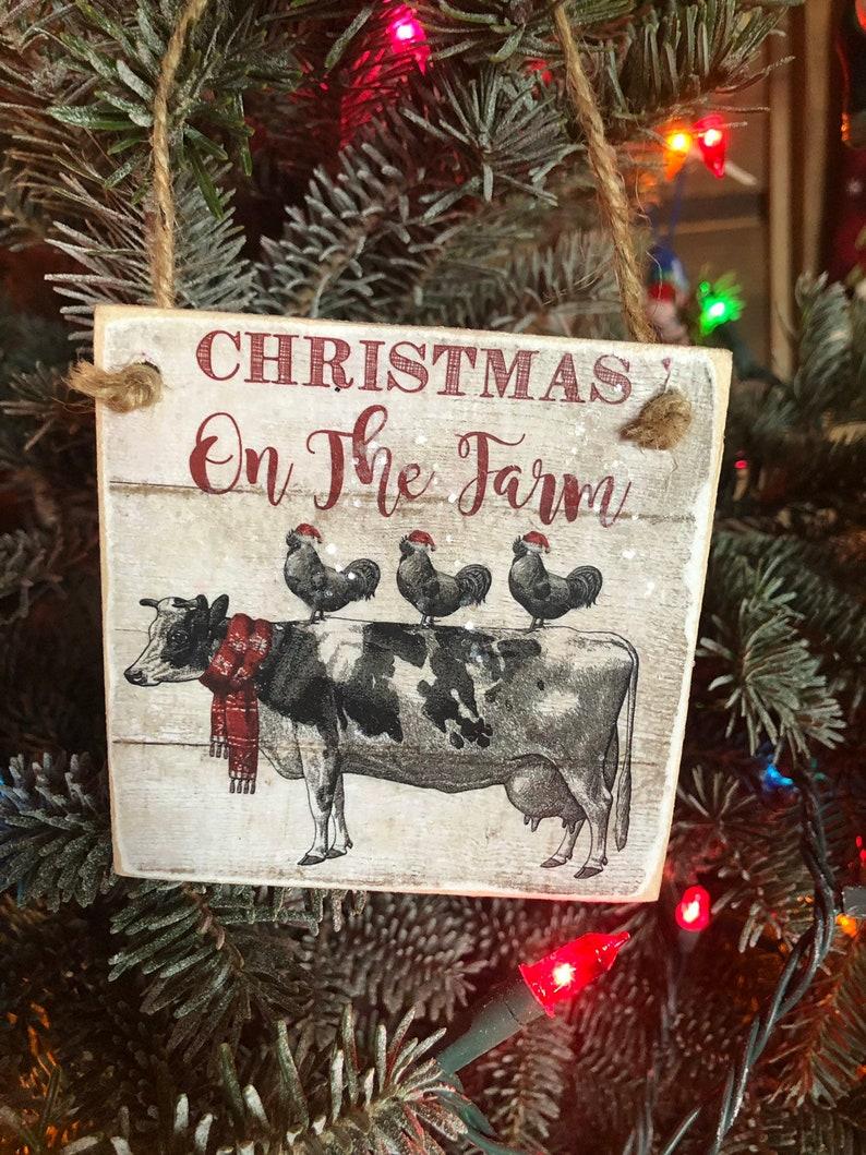 Set 4 Vintage farm animal cow goat chicken sheep christmas  ornament barn tree wooden cabin farmhouse decor free shipping