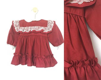 vintage baby girl dress, 12 months, maroon baby girl dress, lacy baby dress, long sleeve baby dress, red dress, valentines day dress, lace