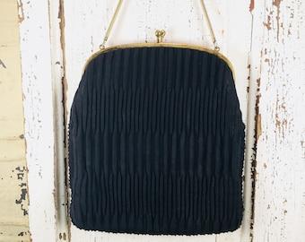 Vintage Ingber handbag, black vintage purse, rockabilly style