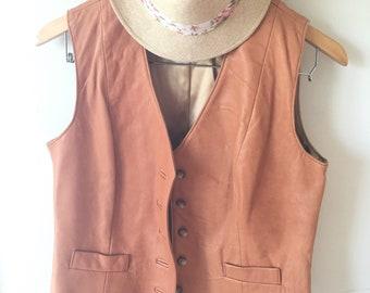 Leather vest, vintage Karen Siltin vest, womans vintage leather vest, womans fashion, genuine leather, 80's 90's fashion