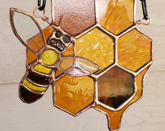 Stained Glass Bee with Honeycomb
