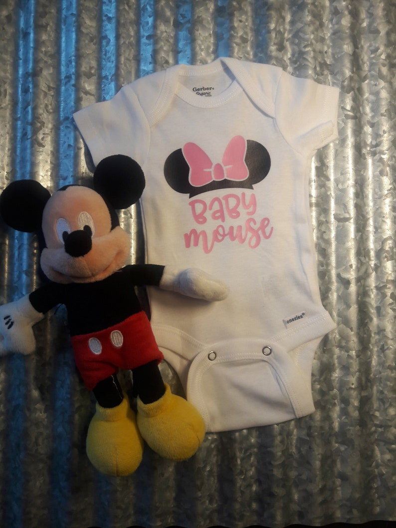 Baby Mouse Carter/'s Bodysuit Onesie Newborn Hospital Vacation Girl Mickey Ears Disney Personalized Bow Pink