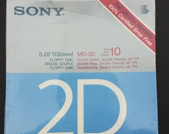 "Sony 5.25"" (130mm) Floppy Disk, Double Sided, Double Density 48 TPI, 10 pack"