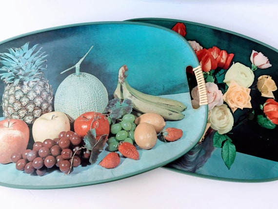 Pair Of Vintage Decorative Trays With Handles Retro Serving Platters Set Mid Century Table Decor Fruit And Flowers