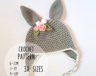 PATTERN ONLY - Toddler Child bunny beanie beanie crochet pattern floral bunny  beanie bunny hat animal beanie rabbit ears rabbit beanie ff5dc82b24d8
