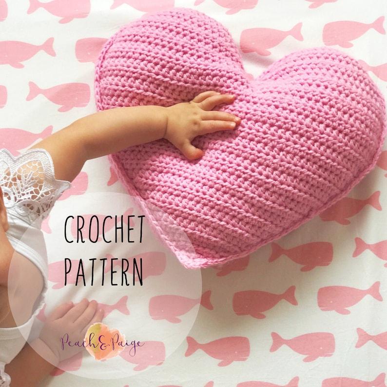 PATTERN ONLY  Crochet heart pillow pattern. DIY nursery image 0